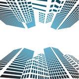 Siluetas de cristal de los edificios modernos de rascacielos en la ciudad ilustración del vector
