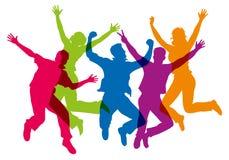 Siluetas de diversos colores, mostrando a un grupo que salta en el aire stock de ilustración