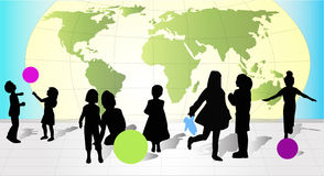 Siluetas de diversos niños Imagen de archivo libre de regalías