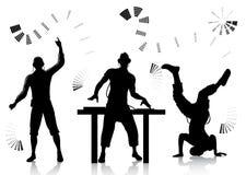 Siluetas de DJ y del clubber Imagen de archivo libre de regalías