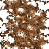 Siluetas de flores marrones abstractas en el fondo blanco stock de ilustración