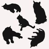 Siluetas de gatos en diverso ejemplo número dos del vector de las actitudes libre illustration