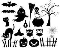 Siluetas de Halloween del vector Imagenes de archivo