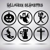 Siluetas de Halloween en círculo Foto de archivo libre de regalías