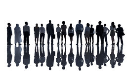 Siluetas de hombres de negocios diversos Fotografía de archivo libre de regalías