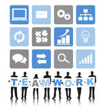 Siluetas de hombres de negocios y del concepto del trabajo en equipo Imagenes de archivo