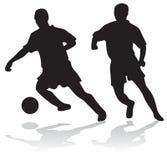 Siluetas de jugadores de fútbol stock de ilustración
