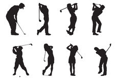 Siluetas de jugadores del golf Fotografía de archivo libre de regalías