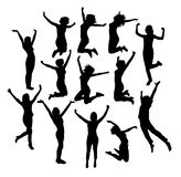 Siluetas de Jumping In Air del hombre de negocios, diseño del vector del arte Foto de archivo libre de regalías
