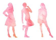 Siluetas de la acuarela de mujeres stock de ilustración
