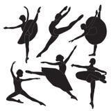 Siluetas de la bailarina Fotografía de archivo