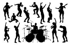 Siluetas de la banda de estallido de la roca de los músicos ilustración del vector