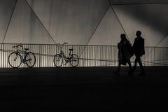 Siluetas de la bicicleta contra la verja en la noche Foto de archivo