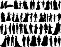 Siluetas de la boda Fotografía de archivo