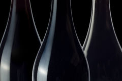 Siluetas de la botella de vino Fotografía de archivo libre de regalías