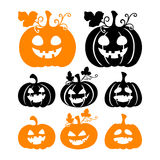 Siluetas de la calabaza de Halloween en el fondo blanco Fotos de archivo libres de regalías