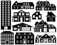 Siluetas de la casa fijadas ilustración del vector