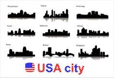 Siluetas de la ciudad de las ciudades más populares de los E.E.U.U. ilustración del vector