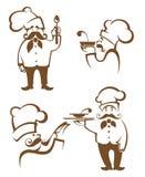 Siluetas de la comida y del cocinero stock de ilustración