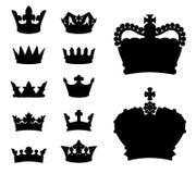 Siluetas de la corona Imagenes de archivo