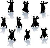 Siluetas de la danza de salón de baile Fotos de archivo libres de regalías