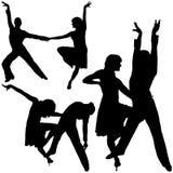 Siluetas de la danza del Latino Imagen de archivo