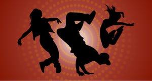 Siluetas de la danza de rotura de baile stock de ilustración