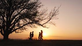 Siluetas de la familia que celebran las manos y el funcionamiento en el prado durante puesta del sol almacen de metraje de vídeo