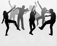 Siluetas de la gente del baile Fotos de archivo