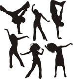 Siluetas de la gente del baile Imagenes de archivo