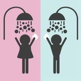 Siluetas de la gente que toma una ducha ilustración del vector