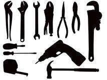 Siluetas de la herramienta de mano Fotografía de archivo libre de regalías