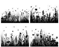 Siluetas de la hierba fijadas Fotografía de archivo libre de regalías