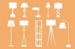 Siluetas de la lámpara Fotografía de archivo libre de regalías