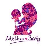 Siluetas de la madre y del bebé Fotos de archivo