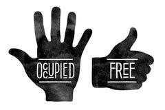 Siluetas de la mano negra con las palabras ocupadas y Fotos de archivo libres de regalías