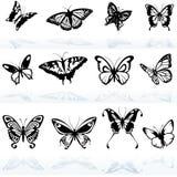 Siluetas de la mariposa Fotografía de archivo