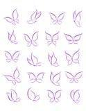 Siluetas de la mariposa fijadas ilustración del vector