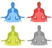 Siluetas de la meditación stock de ilustración
