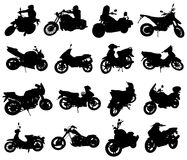 Siluetas de la motocicleta Imágenes de archivo libres de regalías