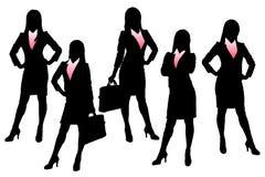 Siluetas de la mujer de negocios stock de ilustración