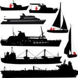 Siluetas de la nave Imagen de archivo libre de regalías