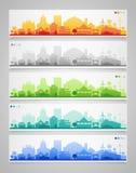 Siluetas de la pequeña ciudad y del pueblo multicolor Imagen de archivo libre de regalías