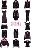 Siluetas de la ropa Imagen de archivo libre de regalías