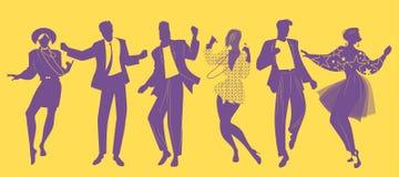 Siluetas de la ropa que lleva de baile de la música de la nueva ola de la gente en el estilo de los años 80 libre illustration