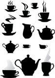 Siluetas de la taza de café imagenes de archivo