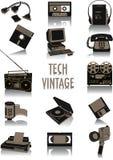 siluetas de la Tecnología-vendimia Imágenes de archivo libres de regalías
