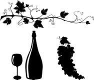 Siluetas de la uva y del vino fijadas Fotos de archivo