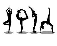 Siluetas de la yoga fijadas Imagen de archivo libre de regalías