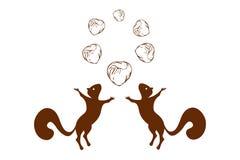 Siluetas de las ardillas y círculo de salto de avellanas en el top Logotipo de dos ardillas con seis nueces en color marrón libre illustration